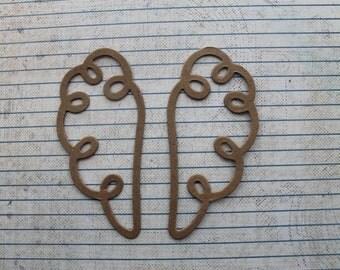 3 Pairs  whimsical Bare chipboard die cuts Fairy wings Angel Wings