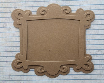 2 Scroll Filigree Rectangle Chipboard Frame Diecuts with backing pieces