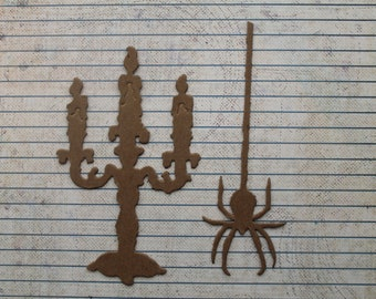 2 Gothic Candelabra Candle and 2 Spider Halloween raw chipboard die cuts