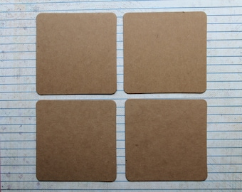 Square Diecuts --  4 Bare chipboard die cuts 3 inch Squares rounded corners