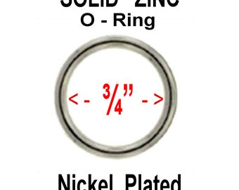 "100 PIECES - 3/4"" SOLID Zinc Metal O Rings - Nickel Plate Finish"