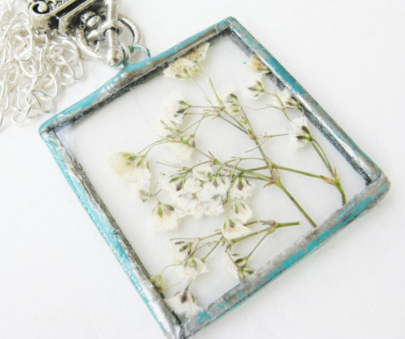 white flower necklace - babys breath -  pressed flower - toggle necklace - real flower - necklace - pendant - statement -
