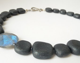 Gray Glitter Necklace Polymer Clay Labradorite Hollow Blue Lampwork Glass Grey