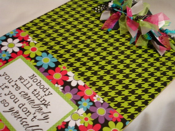 FLOWERS and HOUNDSTOOTH CLIPBOARD