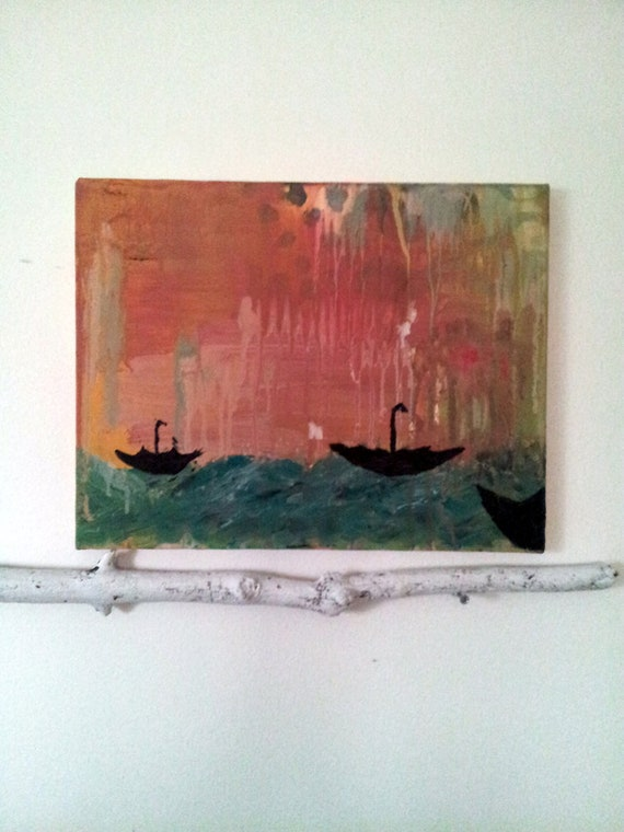 The Umbrellas Set Sail  Original Art on Canvas