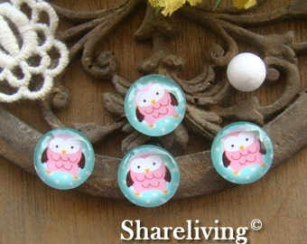 Glass Cabochon, 8mm 10mm 12mm 14mm 16mm 20mm 25mm 30mm Round Handmade photo glass Cabochons  (Owl) -- BCH148C