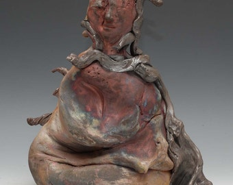 Abstract Raku Ceramics Buddha Statue With an Extra Buddha Inside