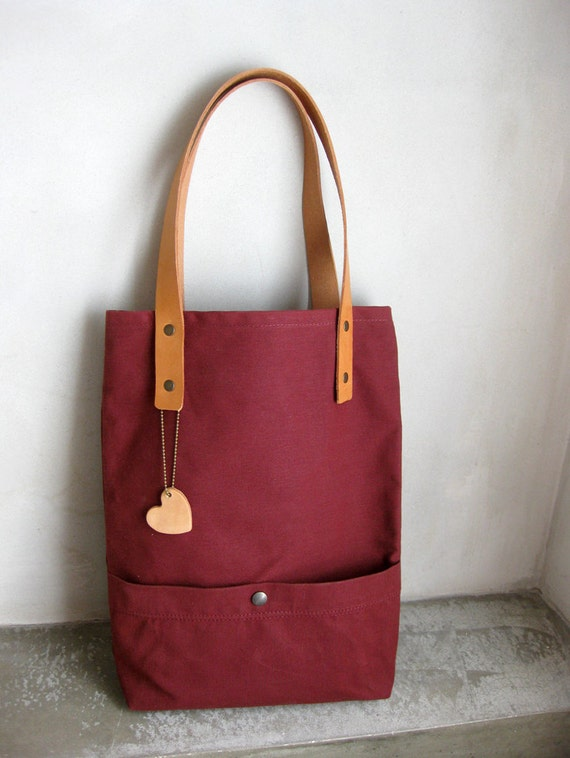 Burgundy Tote Bag Canvas Waxed with Leather Straps