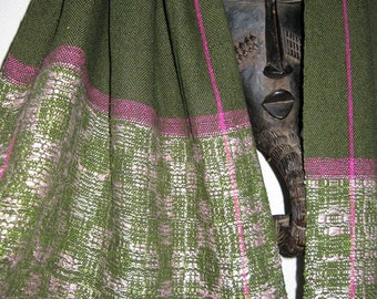 Handwoven Silk Shawl Scarf, Green and Pink, Traditional Weaving Design by Tisserande