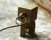 100 Block (earrings, sterling silver, solid brass cubes)