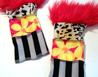 Sale. Punk Arm Warmers- Wild Fingerless Gloves Hand Warmers, stripes, flowers, leopard print