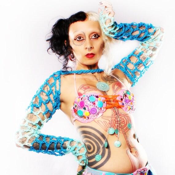 Mermaid Arm Warmers - silky Crochet long Sleeves shrug blue stripe Belly Dance Gothic fishnet Summer Festivals Boho