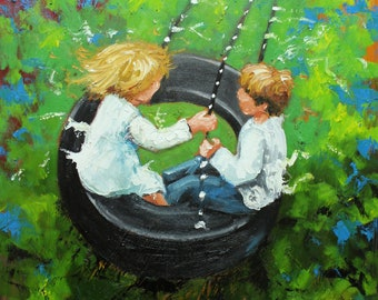 Print Swing 65 16x20 inch Print from oil painting by Roz