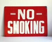 Vintage No Smoking Sign Enamel Steel Industrial Wall Hanging SALE