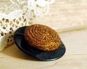Reserved for Stephanie -- Vintage Button Brooch, Amber Beaded Button Jewelry Black  Orange
