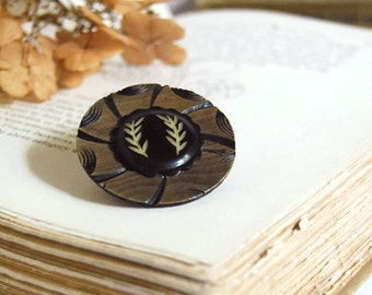 Vintage Button Brooch Twin Fronds Eco Friendly Jewelry Chocolate Brown Celluloid Winter Fashion Faux Bois Woodgrain Leaf Accessories