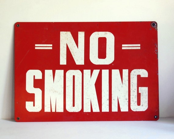 Vintage No Smoking Sign Enamel Steel Industrial Wall Hanging SALE