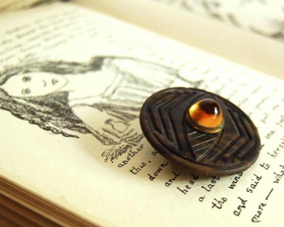 Vintage Button Brooch Chevron Brown Amber Orange Button Jewelry Fall Fashion