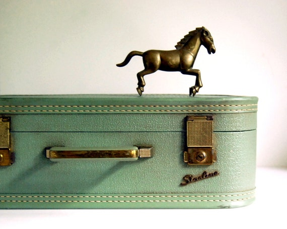 Reserved for Caitlin--Vintage Luggage Starline Suitcase Small Green Carry on by Baltimore Luggage