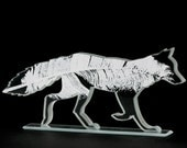 Feather Fox Glass Sculpture Screen Printed Kiln Fired