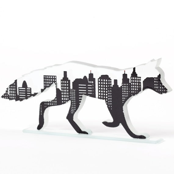 Urban Fox Glass Sculpture Skyline Screen Printed Enamel