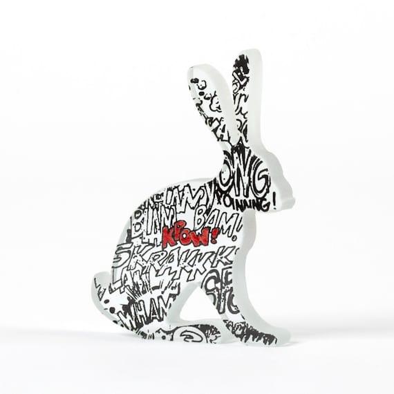 Comic Book Hare Glass Screen Printed Sculpture