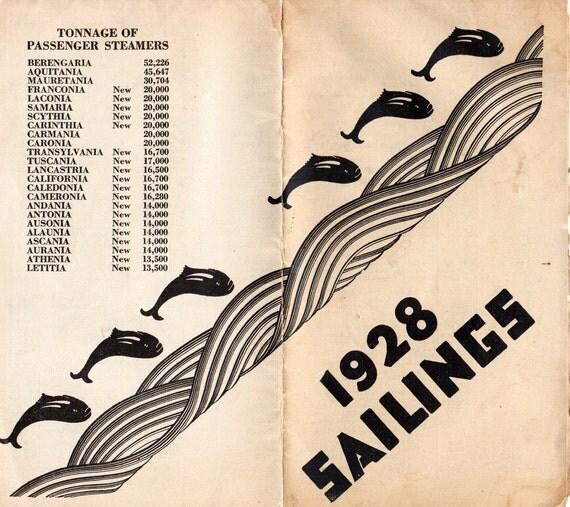 Vintage 1928 Sailings Schedule Cunard Cruises