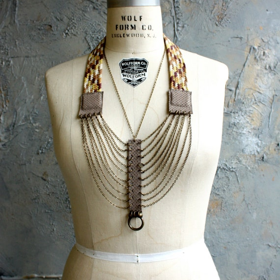 "Woven Cord, Suede and Chain ""Braid"" Necklace"