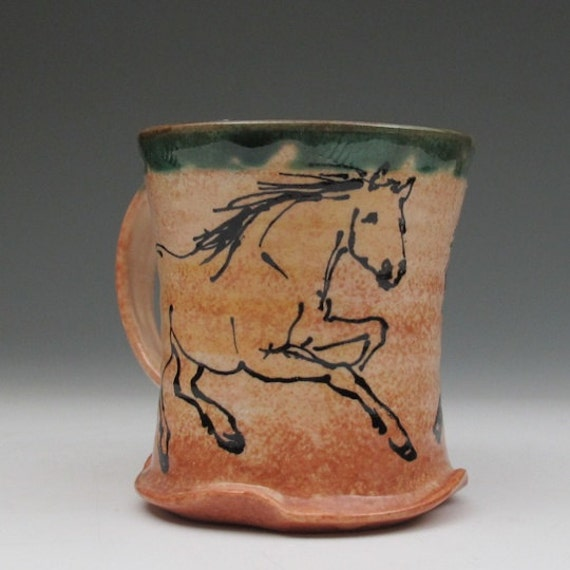 mug with two palomino  horses stoneware pottery cup