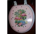 retro flamingo toilet seat vintage 1950's pink flamingo rockabilly Florida kitsch