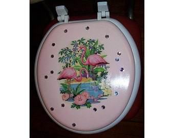 retro flamingo toilet seat vintage 1950's pink flamingo rockabilly Florida kitsch