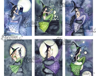 Blank Halloween  Witch 2 MERMAIDS Note Cards from Original Watercolors by Camille Grimshaw