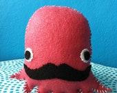 Coral Mr. Mustachio - Felt Plushie