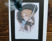 "1908 ""  Blue feather Bonnet"" from Harrison Fisher Bachelor Bells 5x7 note card"