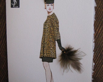"1964 Yves St. Laurent ""Ocelot evening coat""Fashion Illustration 5x7 note card"