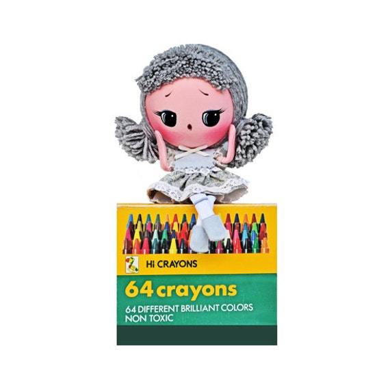 RESERVED / ADOPTED crayon doll poseable gray color girl Moon Head This is CINDER