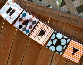 Boys HAPPY BIRTHDAY Reusable Fabric Banner - Orange, Blue, Brown, and Gray.  Great for boys of any age...