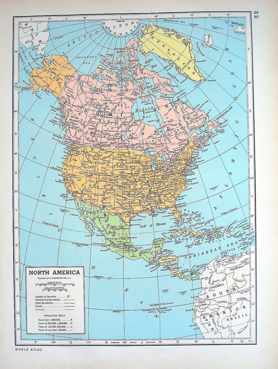 North America Alaska Hawaii Map 1947 Large 2 By