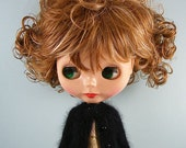 Blythe doll handmade knitted black angora cardigan sweater BL186