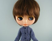 Blythe doll handmade knitted denim blue cardigan sweater BL189