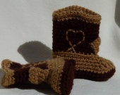 Crocheted Western Booties brown on light brown choose a size
