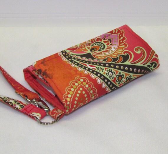 Orange Filigree LITTLE TECH Cell Phone Wristlet iPhone Wallet Case for Smartphones