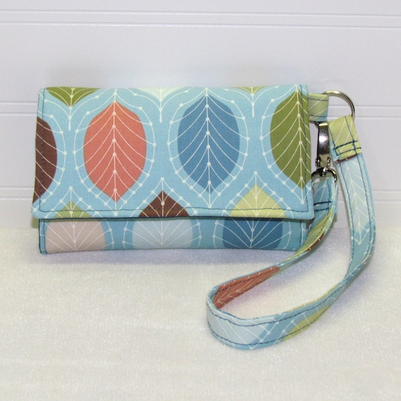 Cell Phone Wallet, iPhone Wallet, Smart Phone Wallet, Droid Wallet, Wristlet, Case - Leaves on Sky Blue Turquoise