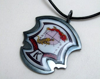 Kenpo Karate Ed Parker Crest set in Oxidized Sterling Silver Frame on Leather Cord by Cristina Hurley