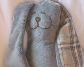 Minky Snuggle Bunny - in gray with plaid flannel ears