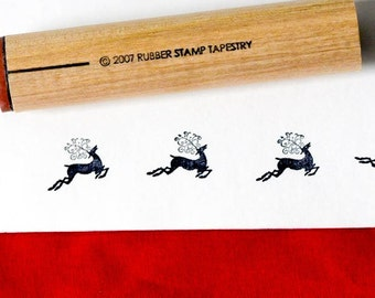 Jumping Reindeer Rubber Stamp