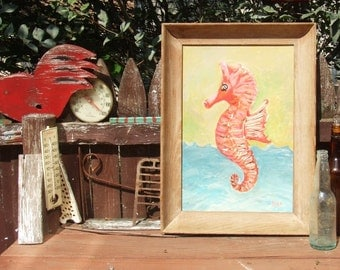 Seahorse Art - Original Framed Painting - Coral Pink, Green, Aqua Blue - Beach Cottage Nautical Theme ArtworkDecor
