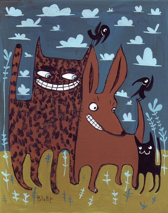 Calico and Black Cat and Chihuahua Dog Art Painting - Whimsical Blue and Brown Pet Animal Folk Artwork Wall Decor