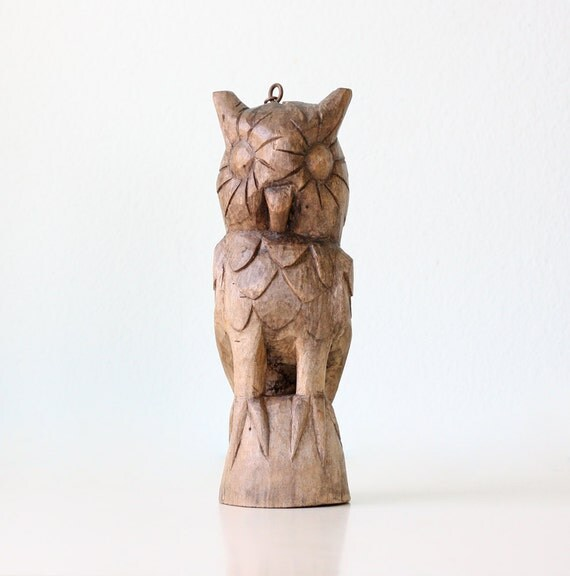 Retro Wooden Owl Sculpture