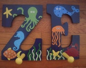 Ocean Friends theme-Decorative wall letter- Wooden Wall Peg-rack-hook